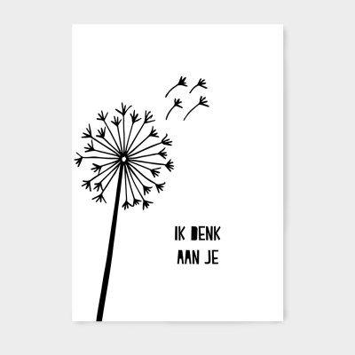 Ansichtkaart, zwart wit, quotes, tekst, lief, vriendschap, ik denk aan je