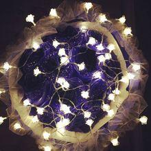 Lanterna 3 M 24 luzes Da Corda led 3 pcs AA Bateria Operado luzes De Fadas para o Casamento de Flor Rosa Guirlanda quarto pátio decoração(China (Mainland))