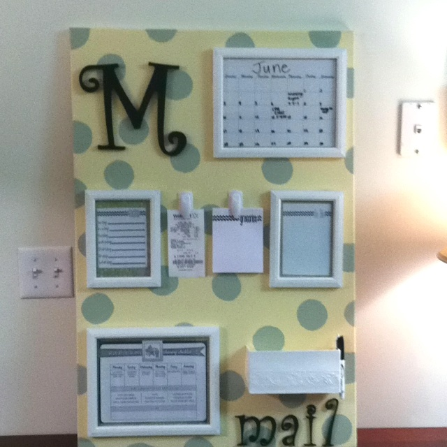 My homemade organization board!! Dry erase calendar, to do list, weekly menu, weekly chores, printed grocery lists and a place to keep receipts and mail!