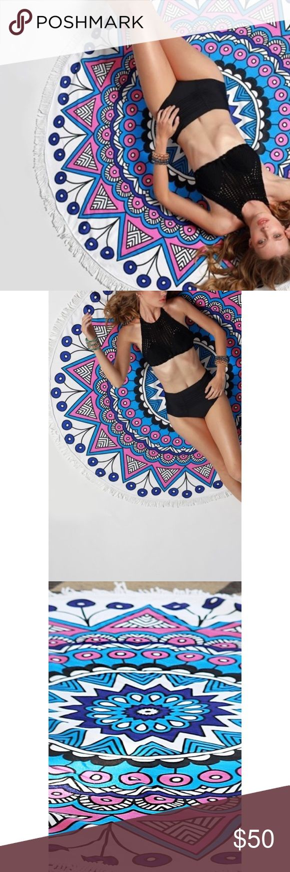 """Mandala roundie beach coverup/towel/wrap 🚫Price firm, bundle to save 🚫 📸 Color may vary due to device color calibration, and photography lighting  💗Beautiful microfiber wrap/cover up/towel 💗 100% cotton/microfiber  💗 Approximately 61""""x61"""" Accessories"""