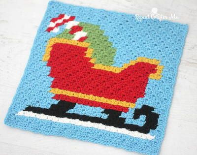 Santa's Sleigh Pixel Square -- oh so merry!