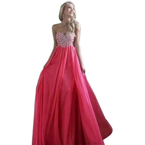 Pre-owned Sherri Hill Strawberry 3908 Dress ($256) ❤ liked on Polyvore featuring dresses, strawberry, formal prom dresses, red formal dresses, preowned dresses, red prom dresses and pre owned prom dresses
