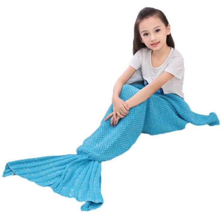 6 Colors Kids Mermaid Tail Blanket Crochet Mermaid Blanket Super Soft All Seasons Sleeping Knitted Blankets #Affiliate