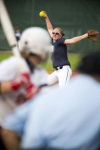 Kingwood's Ashley Johnson (14) pitches during Atascocita's 1-0 victory over Kingwood on March 17, 2015, at Atascocita High School.