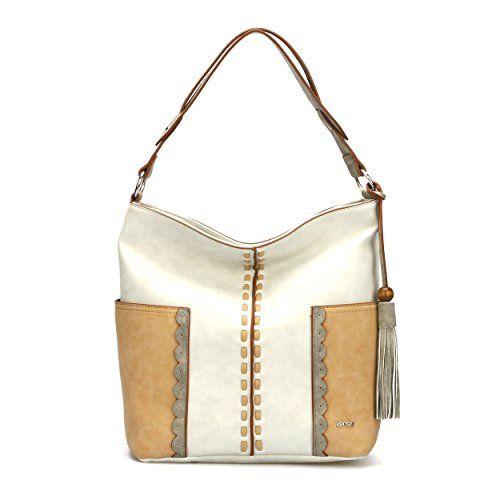 Kensie Womans Fashion Designer Bora Bora Medium Tote Bag Top Zipper with Dual Side Pockets Tassel Dangle Cream Tan Gray