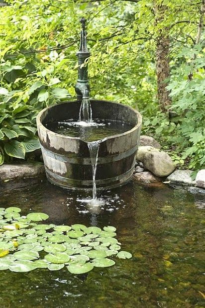 Cottage garden pond fountain i would have a few goldfish for Goldfish pond pump