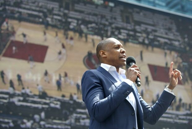 Masai Ujiri speaking to the fans