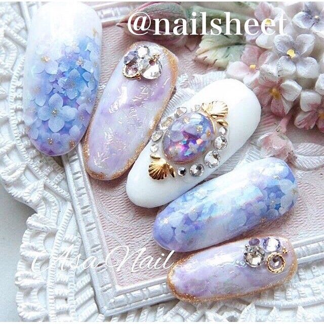 上品な青が綺麗♡青色を使った紫陽花ネイルデザイン集♡人気ネイル画像30選♡ | Jocee