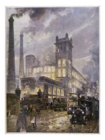 Preston, Lancashire: Horrockses Crewdson and Co. Centenary Cotton Mills, on a Rainy Day Giclee Print