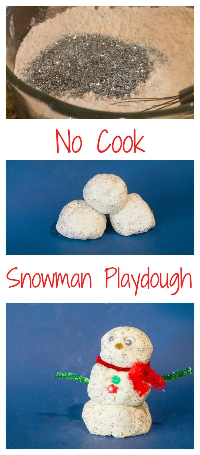 Snowman Playdough Recipe and Activity. No-cook Snow playdough that doesn't need cream of tartar!