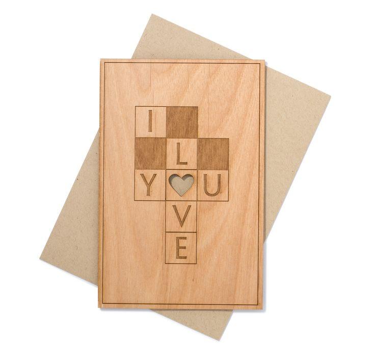 Love Wood Card - Wedding Anniversary Greeting Card - Crossword Puzzle