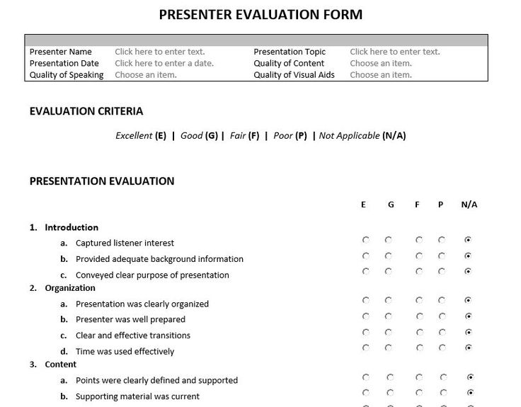 Best  Presentation Evaluation Form Ideas On