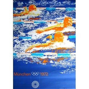 Munich 1972 Olympics Swimming poster. One to try on photoshop? Take some photographs of swimmers, some close up and some far away. Experiment then on photoshop? Does this when you return if you dont have access to photoshop at home.