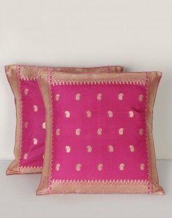 Silk Woven Dewas Booti Deva Cushion Cover