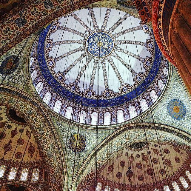 The stunning interior of the Blue Mosque or Sultan Ahmet Mosque is definitely a sight to see while in Istanbul. #istanbul #turkey #constantinople #sultanahmet #mosque #bluemosque #travel #traveloften #travelblogger #wanderlust #cruise #excursion #norwegiancruiseline #norwegianjade #tour #tourist #architecture #throwback #travelturkey