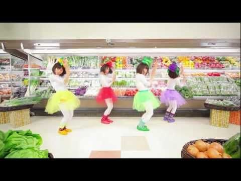 Cute and catchy.  It's called, Bejitarizumu, a play on words of vegetarian (be-ji-te-ri-an-iz-u-mu) and rhythm (ri-zu-mu). It is about how eating vegetables when you are sad can make you feel better. It is to help promote healthy eating to kids.