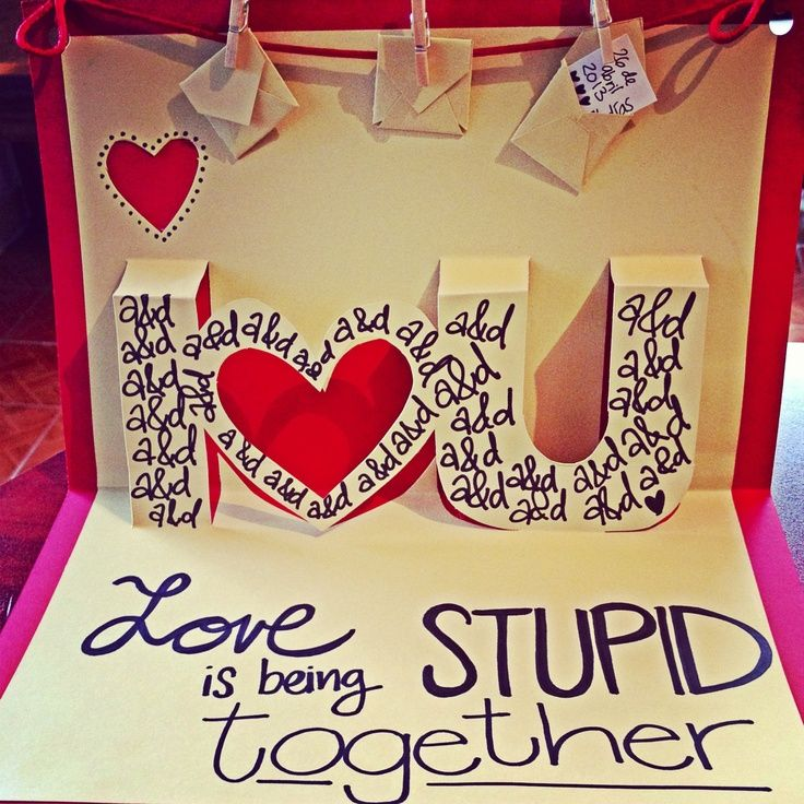 """Love pop-up card. """"Love is being stupid together"""" Amor, love quotes, tarjeta, cute."""
