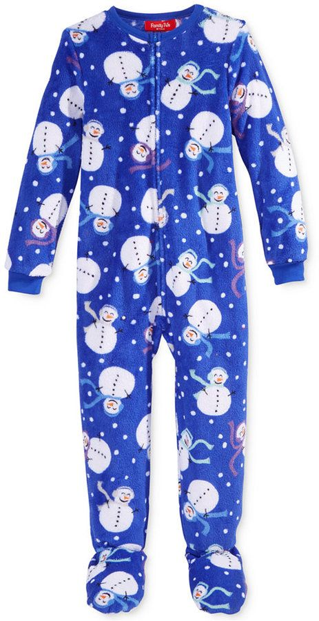 Family Pajamas Boys' or Girls' Snowman Microfleece Footed Pajamas, Only at Macy's