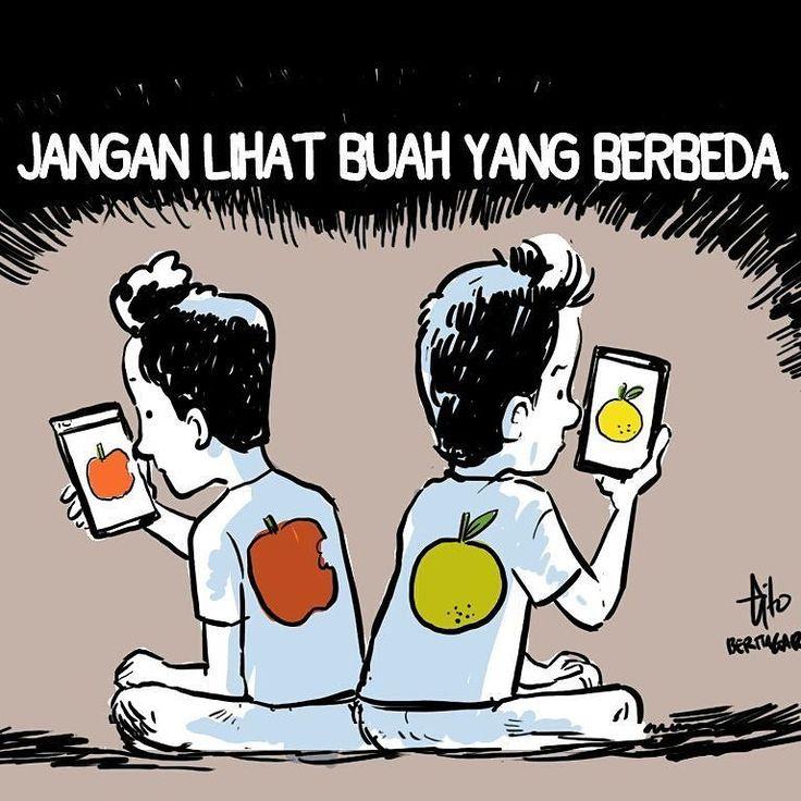 Isi linimasa medsos bikin emosi? Akhirnya banyak unfollow dan unfriend. Memilih isi linimasa masing-masing itu memang pilihan pribadi apalagi bila isinya toxic. Saya malah di-unfriend beberapa orang karena meng-counter hoax  pantesan timeline jadi adem. Masyarakat Indonesia itu heterogen melihat buah berbeda itu perlu. #beritagarid #kartun #komik