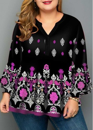 Crinkle Chest Tribal Print Plus Size Blouse 3