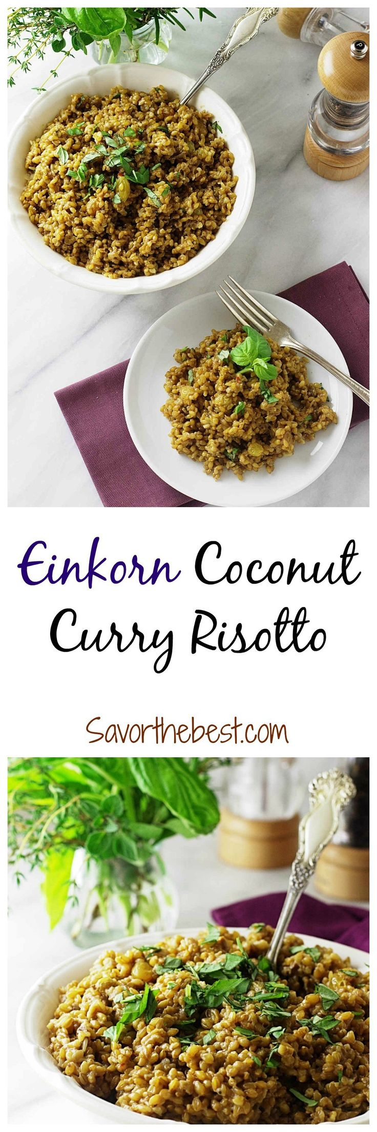 A delicious coconut curry risotto made with einkorn wheat berries instead of…