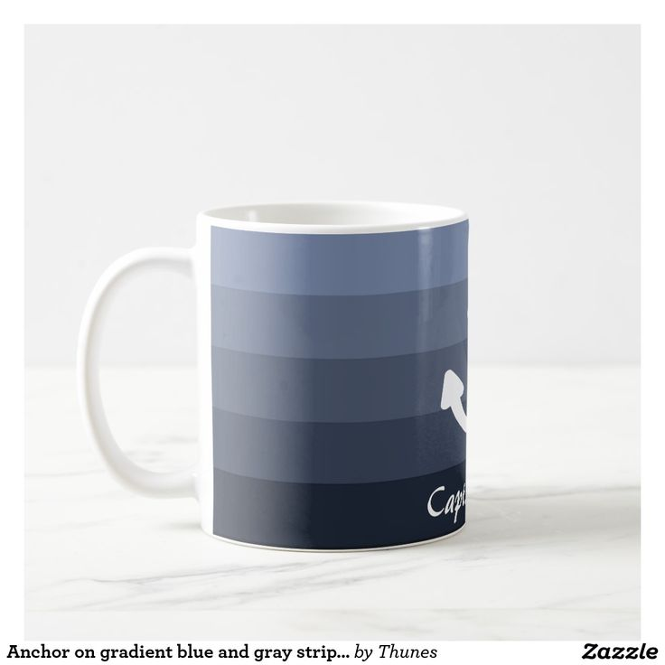 Anchor on gradient blue and gray stripes captain mug.  Add his name!