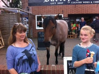 ``Mum he wants an ice cream`` New forest pony walking round Burley. Marvellous