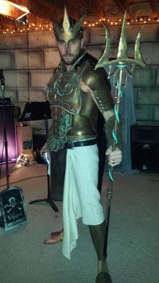 """Jordan was Poseidon for Halloween. Who's Poseidon? Well, he's the Greek """"God of the Sea"""" but he also covers earthquakes too for good measure. So while everyone else was out being sexy nurses or superheroes, this guy went ahead and made himself god of earthquakes. Nicely played Jordan, nicely..."""