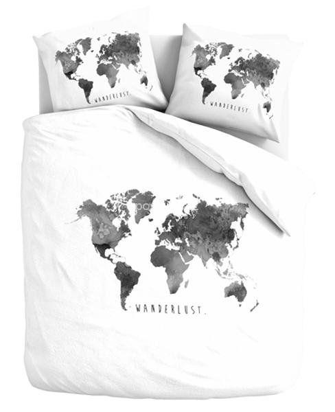 Pościel bawełniana Mapa świata biało-szara 200x220