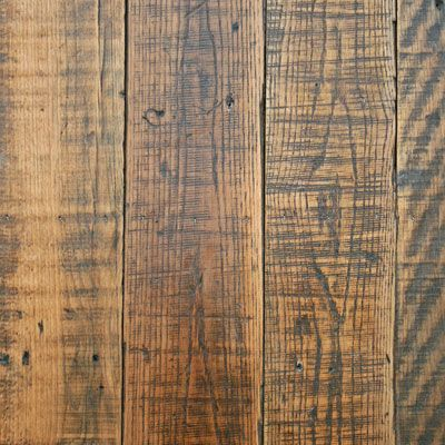 Hand scraped and distressed hardwood. Rustic look