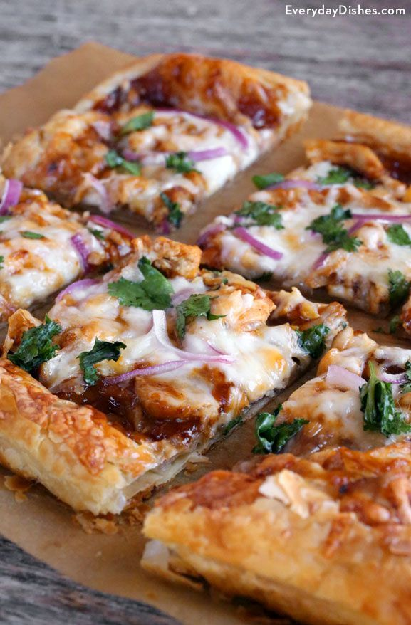 Pizza—everyone loves it, and when you turn a good recipe into a great one, it's definitely worth making at home! Our 30-minute BBQ chicken puff pastry pizza is light and fluffy with an outstanding blend of spicy BBQ sauce, fresh cilantro, purple onions and of course, chicken.