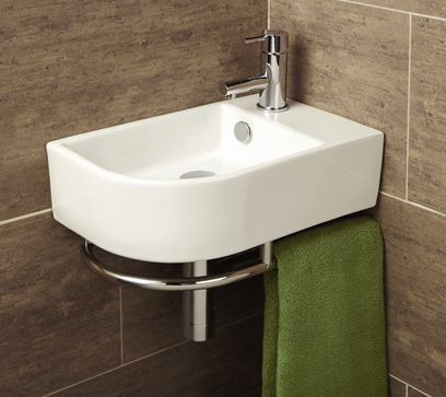 Malo Temoli Cloakroom Corner Wash Basin with Towel Rail