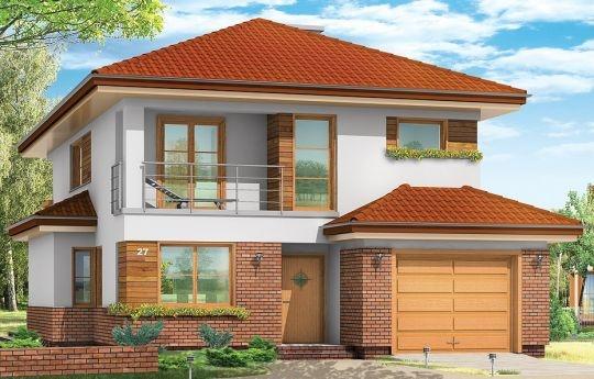 Projekt Kasjopea to dom przeznaczony dla rodziny 4-5cio osobowej. Budynek zaprojektowano jako piętrowy, przekryty czterospadowym dachem z częściowo wbudowanym w główną bryłę garażem. Prosta forma domu w postaci prostopadłościanu została urozmaicona wystającymi wykuszami i daszkami, a także podcieniami, balkonami i loggią.