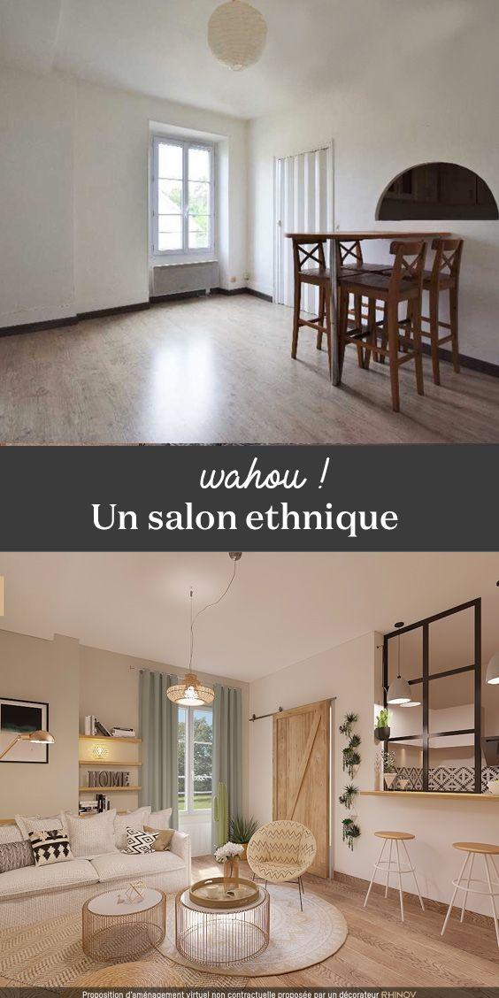 Projet 3D Avant / Après. Un superbe salon style déco ethnique ...