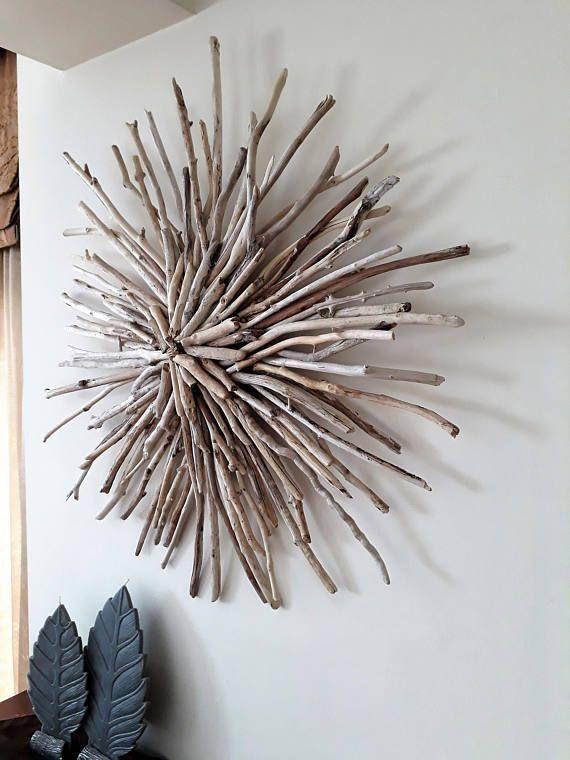 Driftwood Sunburst Wood Wreath 26 Wall Art Sculpture Front Door