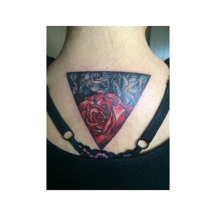 Rose, rose tattoo, triangle tattoo, tatted girls, roses, tattoo, girls with tattoos, moms with tattoos, inked , inked girls, girly tattoo, girl tattoo, ink, neck tattoo, back tattoo