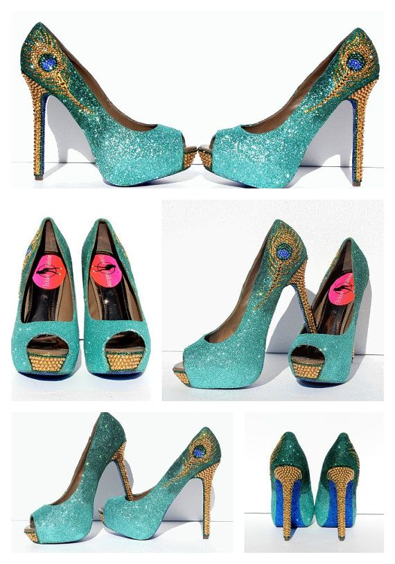 Peacock Heels mit Swarovski-Kristallen in Jade von WickedAddiction