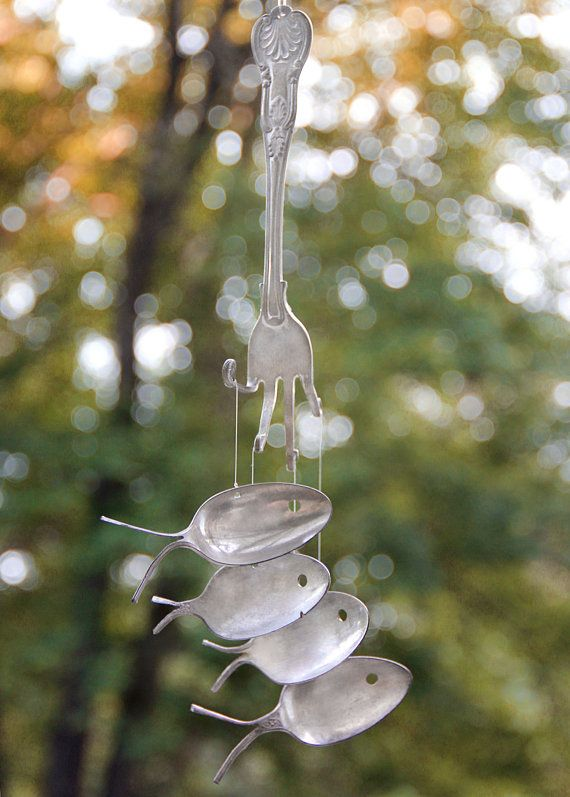 SALE   1800s Silver spoon fish  wind chimes by nevastarr on Etsy