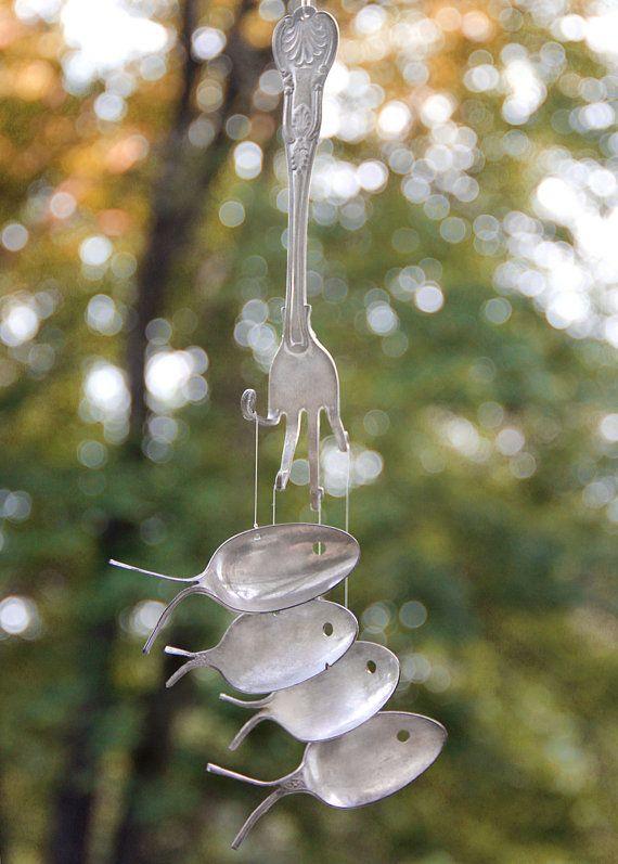 1800's Silver spoon fish windchimes by nevastarr on Etsy