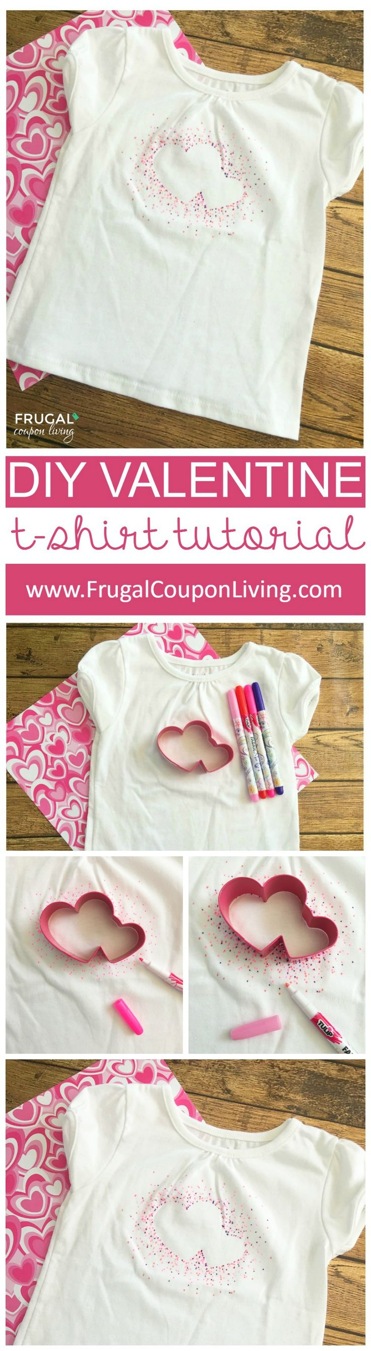 DIY Valentine Shirt Tutorial using Permanent markers. More Valentine Recipes and Crafts on Frugal Coupon Living.