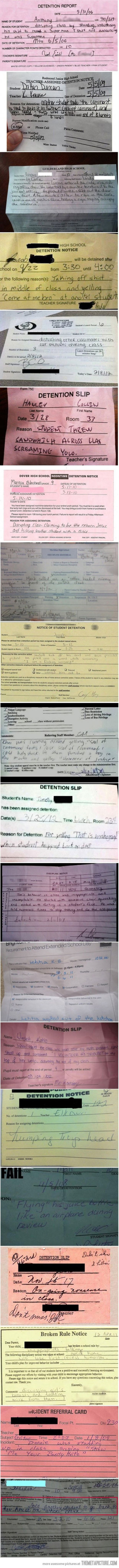 funny detention slips- the Anchor man quote & Jesus one...lol