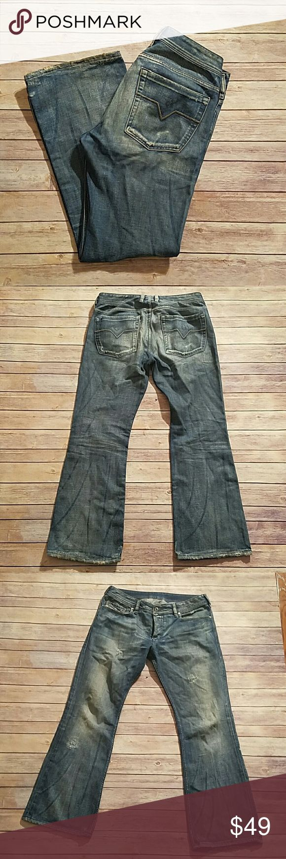 Diesel Zathan Jeans SZ 34 Button Fly Distressed Wear and discoloration on hems. See photos. Button Fly. Distressed. Diesel Jeans Straight