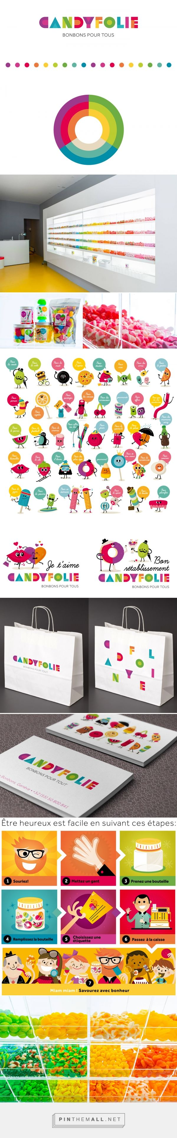 Candyfolie packaging branding on Behance curated by Packaging Diva PD.  Candyfoile is a candy shop in Geneva. The brand is to create a candy for all ages and situations colorful, simple, dinamic and funny.