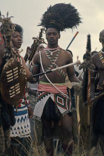 Africa   Resplendent in wedding finery, groom awaits arrival of bride. Near Nongoma, Zululand, South Africa   ©Volkmar K Wentzel