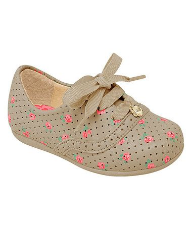 Brown Flower Toddler Shoe by Pampili