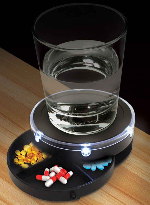 A nightstand caddy that lights up when you clap.