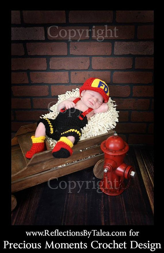 Newborn Fireman Hat, Pants with Suspenders and Boots , Baby Fireman set, Newborn Fireman set, Newborn Firefighter Set PHOTO PROP