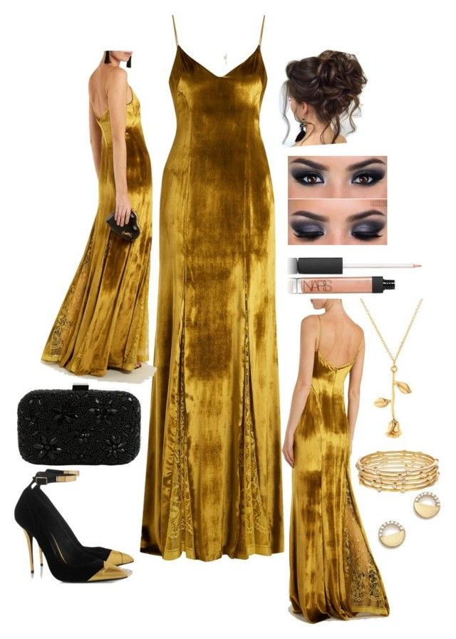 """Lace paneled velvet gown"" by snowflakeunique ❤ liked on Polyvore featuring Galvan, Santi, NARS Cosmetics, Erica Lyons, Bloomingdale's, lace, formal, gown and velvet"