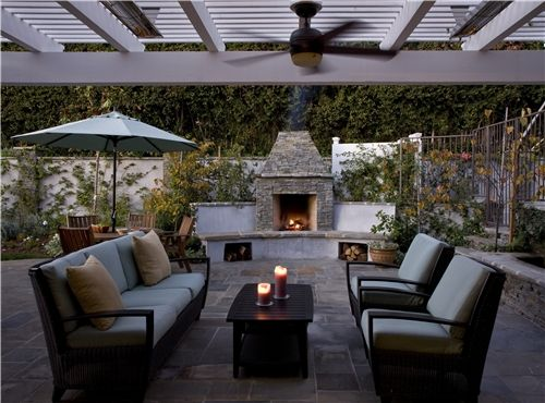 Back Yard Landscape Ideas with Fireplace