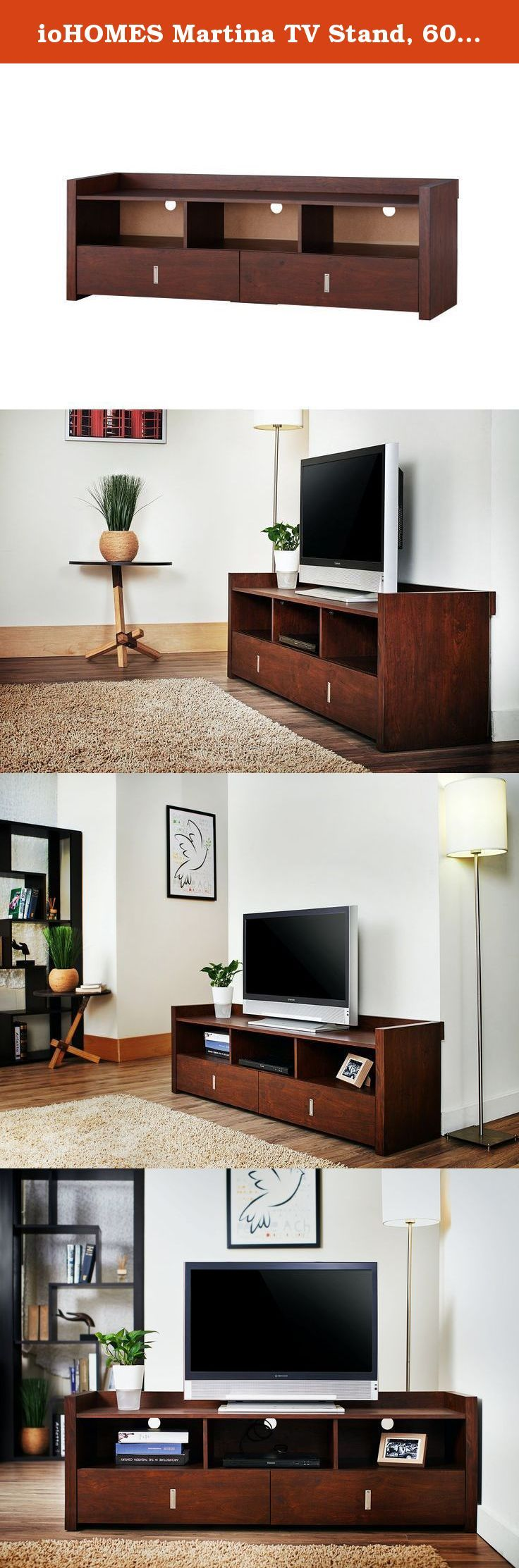 ioHOMES Martina TV Stand, 60-Inch, Vintage Walnut. The Martina 60 Inch TV Stand is a contemporary style media stand with plenty of useful features. With its sturdy wooden construction and spacious 60 inch tabletop, this stand can accommodate any large television set. Three compartments can hold your electronic devices and rear wiring access provides ease of use. Two roomy drawers provide ample space for storing DVDs, video games, remote control units and others. Manufactured in Taiwan....
